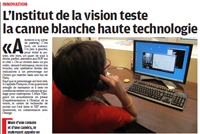 L'Institutde lavisionteste la canne blanche haute technologie